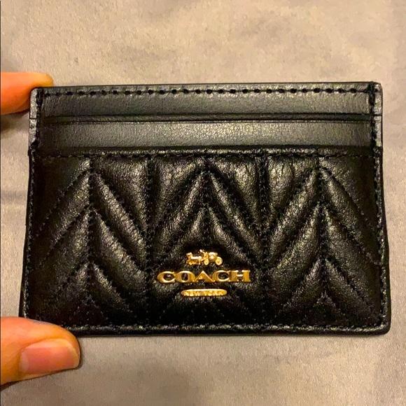 brand new,coach card bag,black